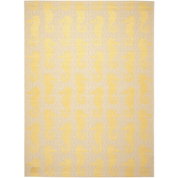 Safavieh Courtyard Seahorse Beige/ Yellow Indoor/ Outdoor Rug - 8' x 11'