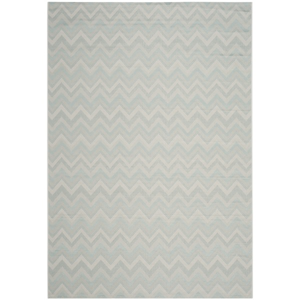 Safavieh Courtyard Chevron Light Grey/ Aqua Indoor/ Outdoor Rug - 8' X 11'