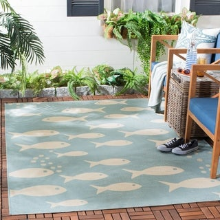 Safavieh Courtyard Goldfish Aqua/ Beige Indoor/ Outdoor Rug (8' x 11')