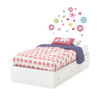South Shore Joy 39-inch Twin Mates Bed with Drawers and Flowers Ottograff Wall Decals Set