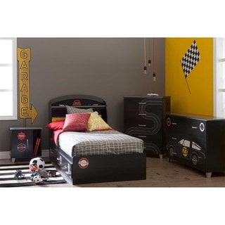 South Shore Luka 39-inch Twin Mates Bed with Drawers and Racing Flag and Race Badges Ottograff Wall Decals