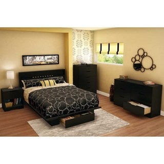 South Shore Holland Full/Queen Pure Black 54/60-inch Platform Bed