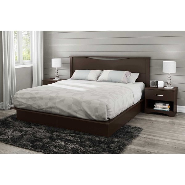 south shore step one chocolate 78inch king platform bed