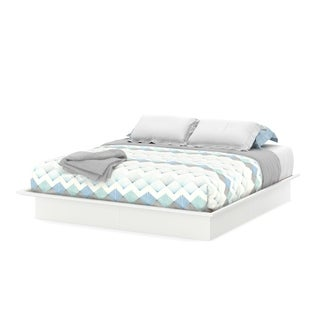 South Shore Step One 78-inch Pure White King Platform Bed with Mouldings