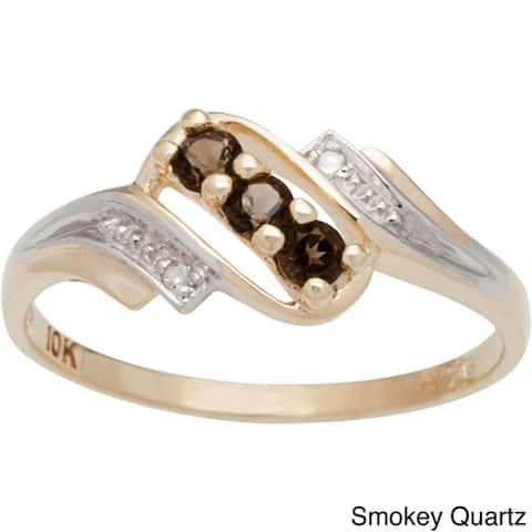 10k Yellow Gold Round-cut 3-stone Birthstone Ring