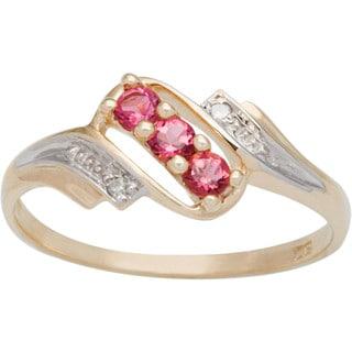 10k Yellow Gold Round-cut 3-stone Birthstone Ring
