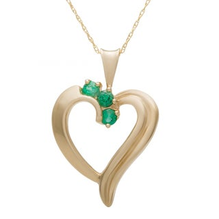 10k Yellow Gold Round Birthstone Heart Necklace