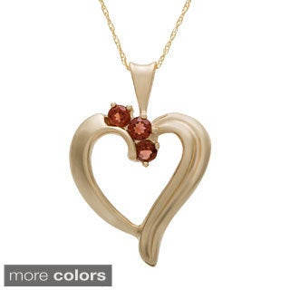10k Yellow Gold Round Birthstone Heart Necklace