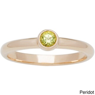 10k Yellow Gold Round Bezel-set Birthstone Ring (More options available)