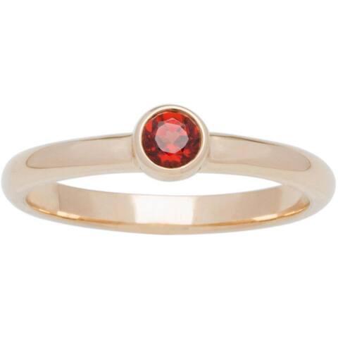 10k Yellow Gold Round Bezel-set Birthstone Ring