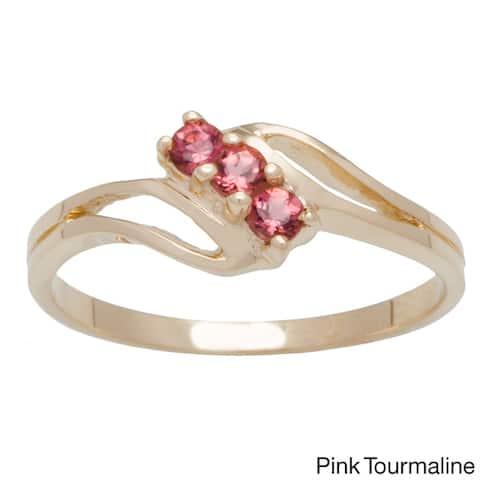 10k Yellow Gold 3-stone Birthstone Ring