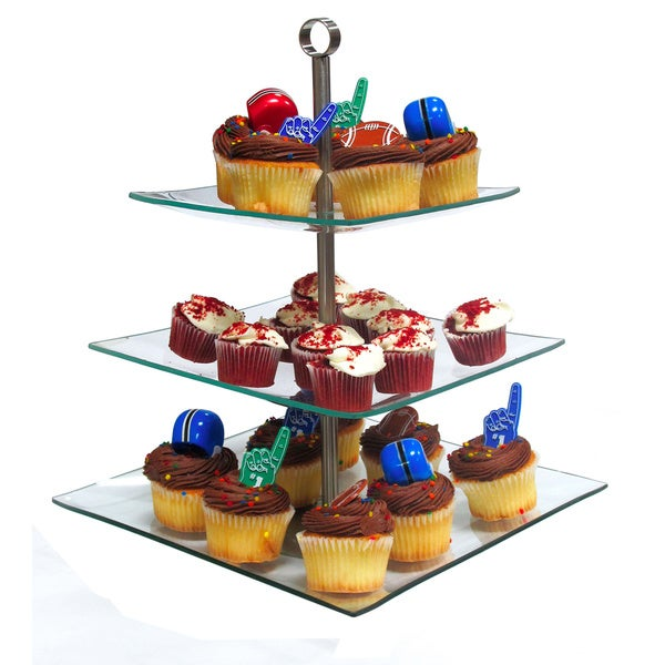 3-tier Square Glass Dessert and Cupcake Stand