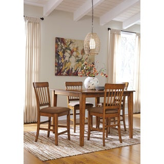 Signature Design by Ashley Berringer Rustic Brown Counter Table and Barstools Set