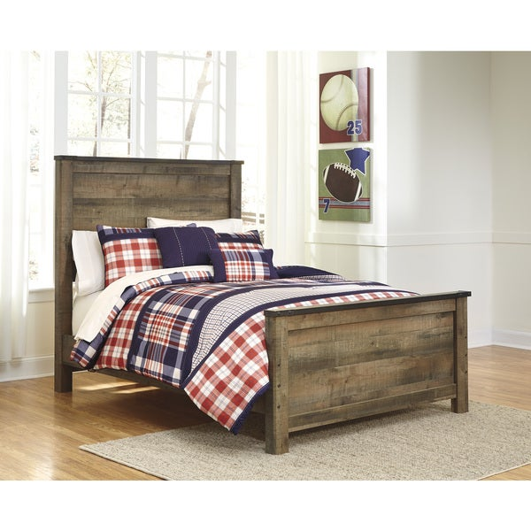 signature design by ashley trinell brown full size bed frame
