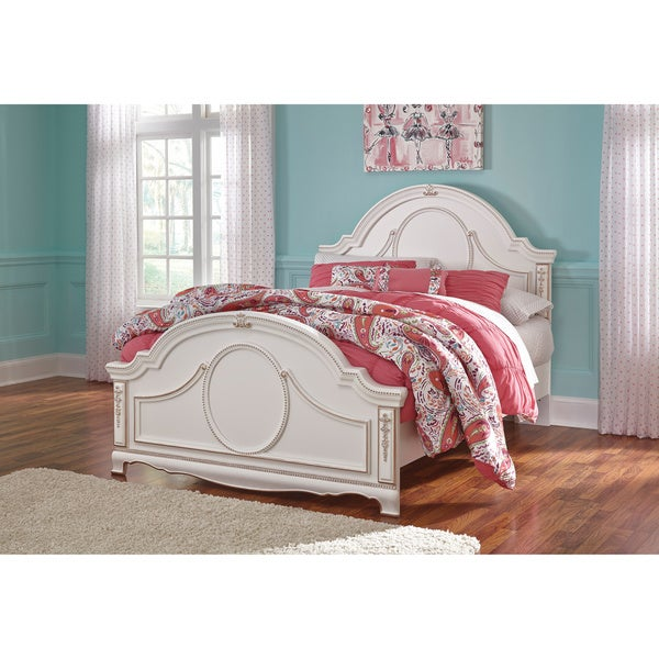 signature design by ashley korabella white full size panel bed - Full White Bed Frame