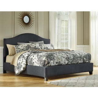 signature design by ashley kasidon grey queen size upholstered bed frame