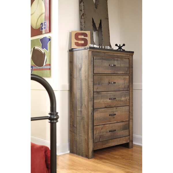 Ashley Furniture Broshtan Door And Drawer Chest: Shop Signature Design By Ashley Trinell Brown 5-drawer