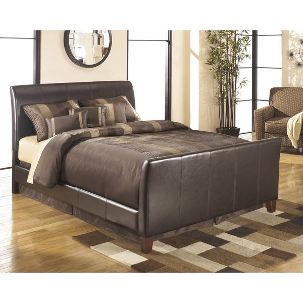 signature design by ashley stanwick brown queen size upholstered bed frame - Queen Upholstered Bed Frame