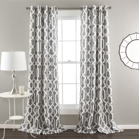 Lush Decor Edward Moroccan Pattern Room Darkening Curtain Panel Pair