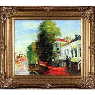 Claude Monet 'Zaan at Zaandam II' Hand Painted Framed Canvas Art
