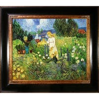 Vincent Van Gogh 'Mademoiselle Gachet in her garden at Auvers sur oise' Hand Painted Framed Canvas Art