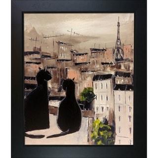 Atelier De Jiel 'Black Cat and his Pretty on Paris Roofs' Framed Fine Art Print