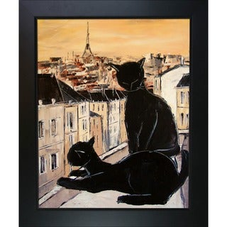 Atelier De Jiel 'Black Cat and his Pretty on Paris Roofs' Framed Fine Art Print