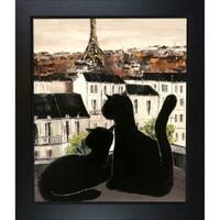 Atelier De Jiel 'Black Cat with his Pretty on Paris Roofs' Framed Fine Art Print