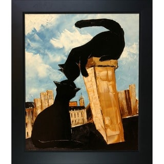 Atelier De Jiel 'Black Cat with his Pretty on Paris Roofs' Framed Fine Art Print
