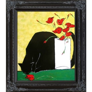 Atelier De Jiel 'Black Cat and his Poppies' Framed Fine Art Print