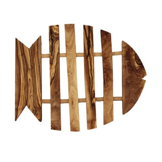 French Home Olive Wood 9-inch Fish Shaped Trivet