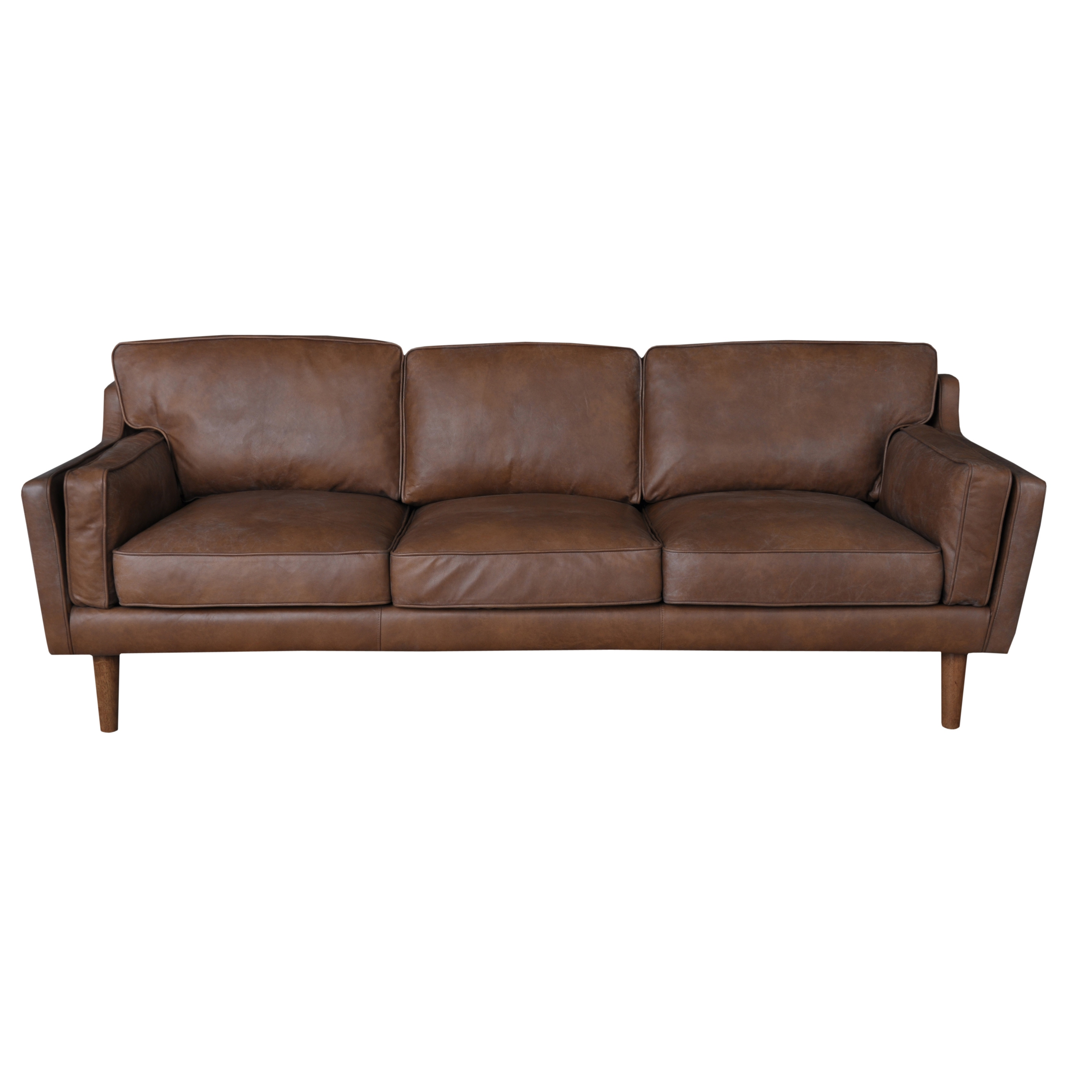 Beatnik Oxford Leather Tan Sofa (As Is Item) (Beatnik Oxf...