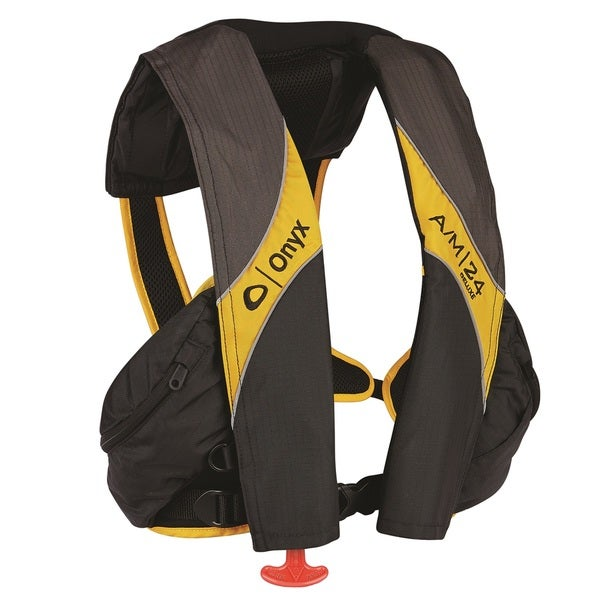 Onyx Outdoor A/M-24 Deluxe Automatic/Manual Infla Life Jacket, Carbon