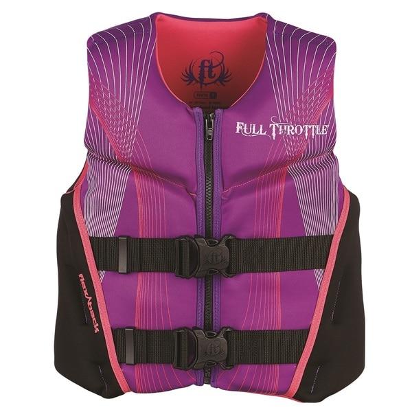 Full Throttle Child Hinged Rapid-Dry Flex-Back Vest, Purple/Pink