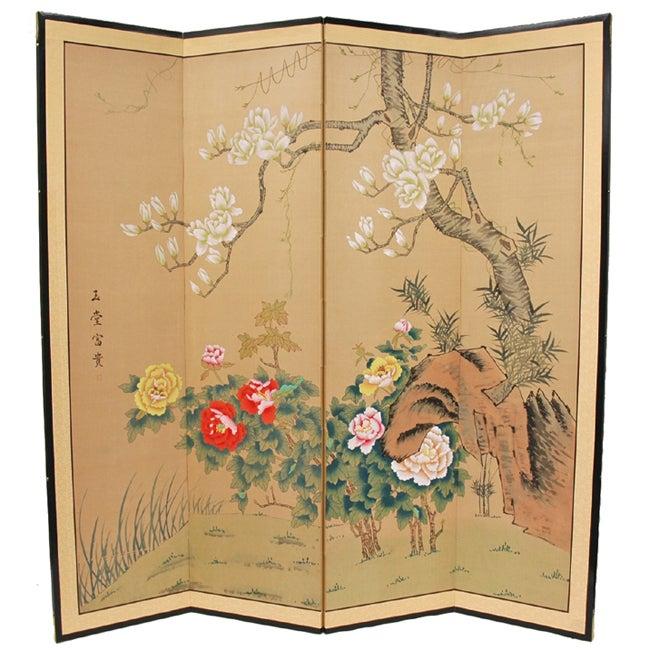 Handmade Harmony in Nature Silk Floor Screen (China)