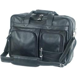 Mercury Luggage Sondrio Black Leather Multi-Pocket Briefcase