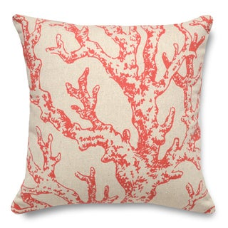 Coral 100-percent Linen 16-inch Throw Pillow