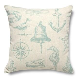 Nautical Aqua 100-percent Linen 16-inch Throw Pillow
