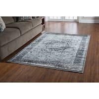 Linon Platinum Collection Heriz Grey/Black Persian Modified Polyester Area Rug (5' x 7'6-inch) (O - 5' x 7'6