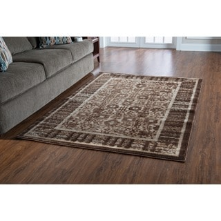 Linon Platinum Collection Isphanan Brown/Black Persian Modified Polyester Area Rug (5' x 7'6-inch
