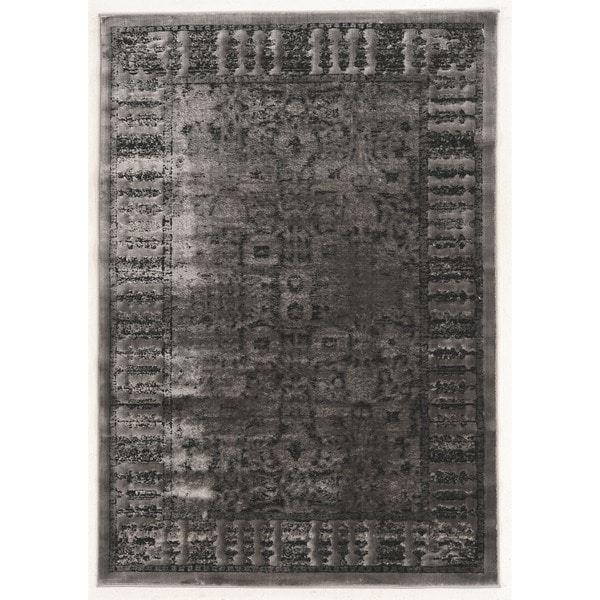 Linon Platinum Collection Isphanan Grey/Black Persian Modified Polyester Area Rug (5' x 7'6-inch) - 5' x 7'6