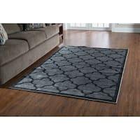 Linon Platinum Collection Trellis Grey/Black Geometric Modified Polyester Area Rug (5' x 7'6-inch - 5' x 7'6