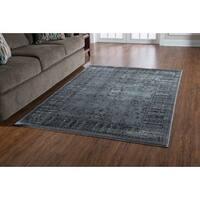 Linon Platinum Collection Isphanan Grey/Black Persian Modified Polyester Area Rug (8' x 11') (Ove - 8' x 11'