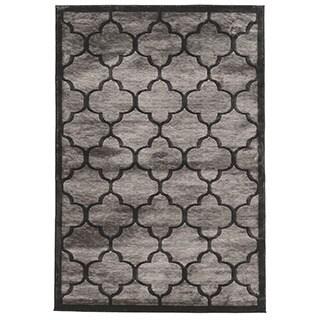Linon Platinum Collection Trellis Black/Grey Geometric Modified Polyester Area Rug (8' x 11') (Ov