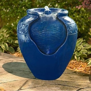 "Peaktop Garden Water Glazed Pot Floor Fountain With LED Light, 17"" Height, Royal Blue"
