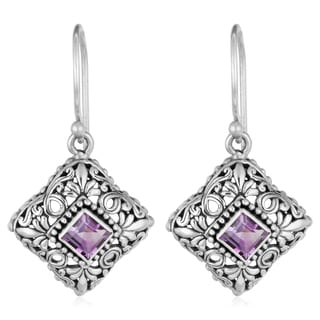 Sterling Silver Amethyst Floral Cawi Dangle Earrings (Indonesia)