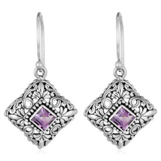 Handmade Sterling Silver Amethyst Floral Cawi Dangle Earrings (Indonesia)