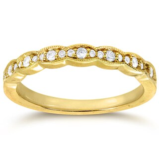Annello by Kobelli 14k Yellow Gold 1/6ct TDW Round-cut Diamond Wedding Band (G-H, I1-I2)