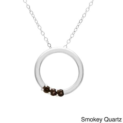 Sterling Silver Round 3-stone Birthstone Necklace
