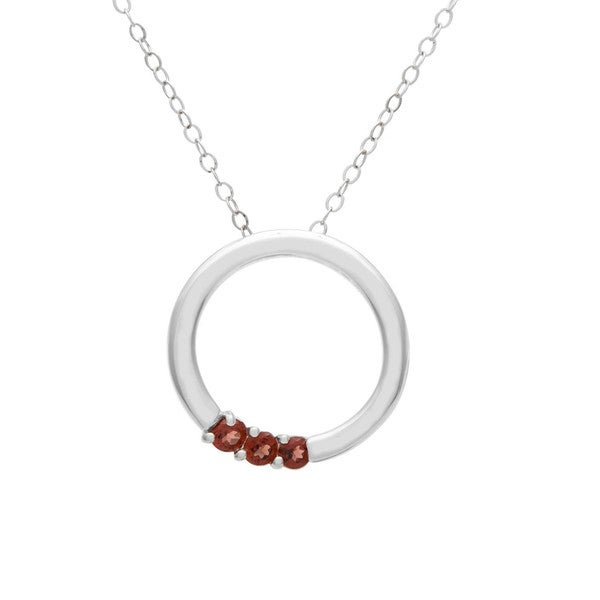 Sterling Silver Round 3-stone Birthstone Necklace. Opens flyout.